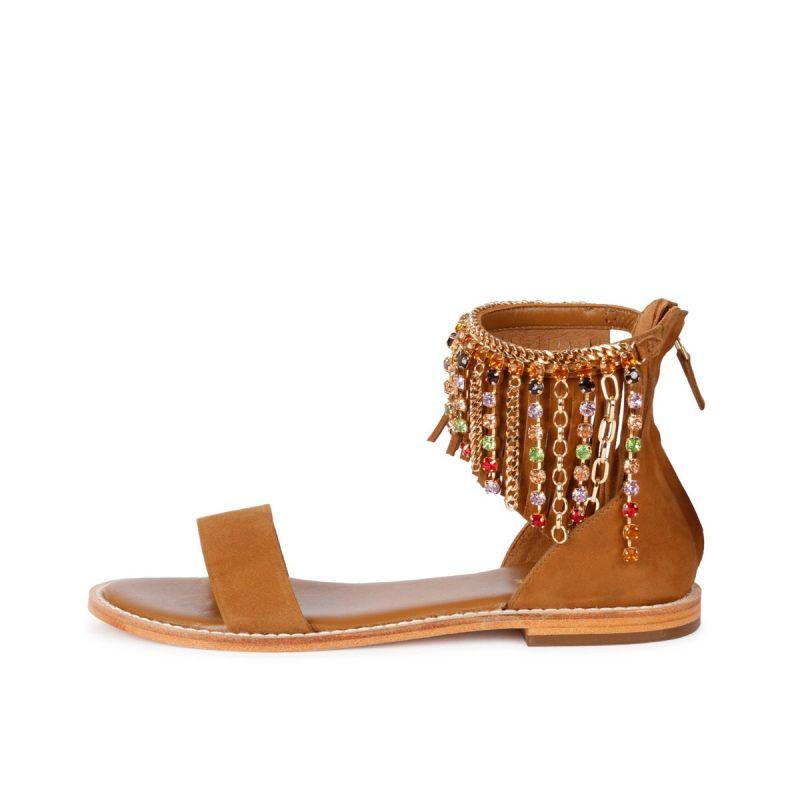 Sandalo cavigliera gioiello kid suede Cuoio