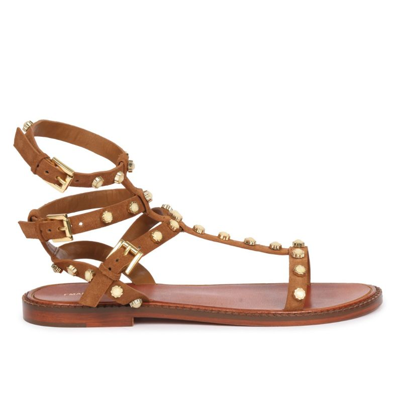 LACE-UP SANDAL WITH STUDS & STRASS - COW SPLIT Cuoio