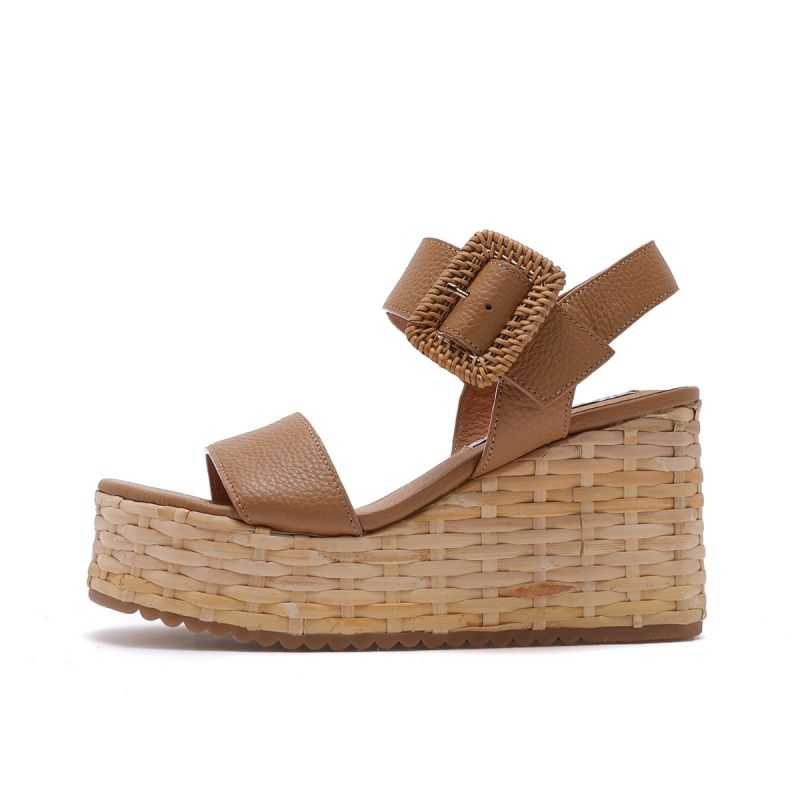 SANDAL ON WEDGE WIH LATERAL BUCKLE TUMBLED LEATHER Cuoio
