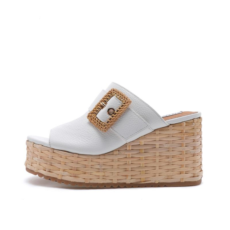 WEDGE SLIPPER WITH WICKER BUCKLE TUMBLED LEATHER WHITE