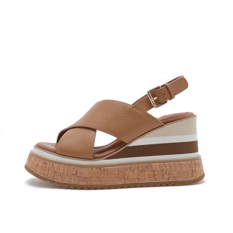 CROSSED SANDAL ON HIGH WEDGE TUMBLED MICRO LEATHER Cuoio