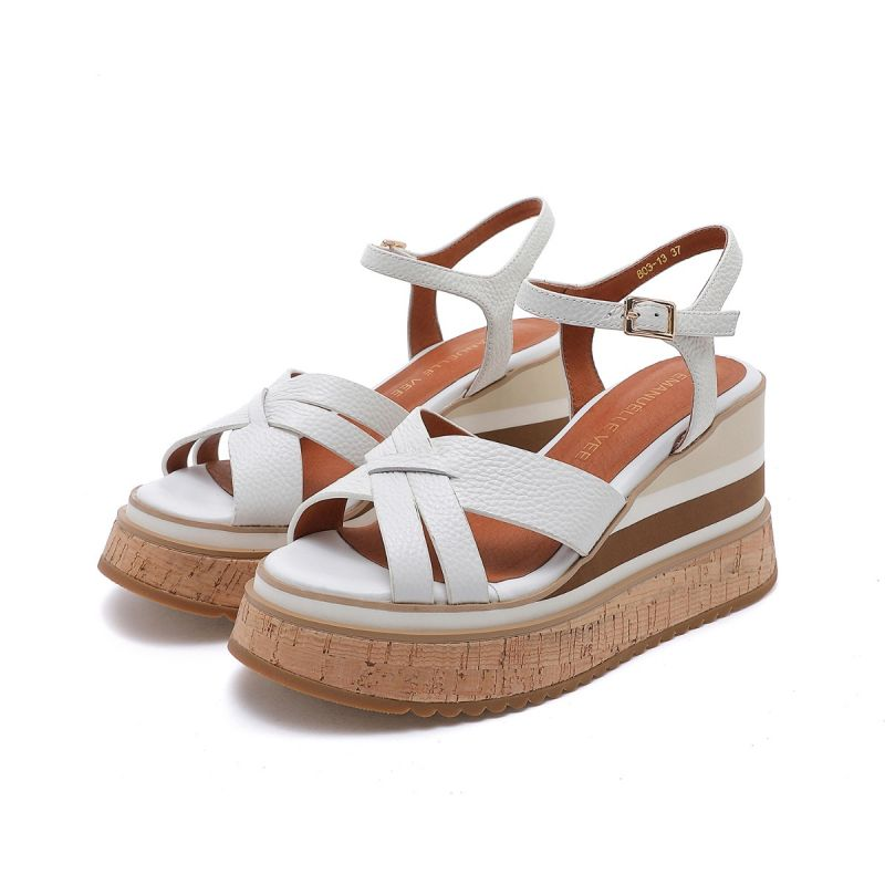 SANDAL WITH ANKLE STRAP ON HIGH WEDGE TUMBLED MICRO LEATHER WHITE