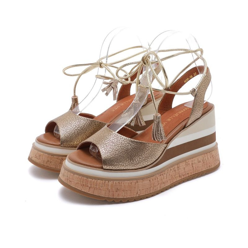 SANDAL WITH ANKLE LACE ON HIGH WEDGE LAM. TUMBLED MICRO LEATHER GOLD