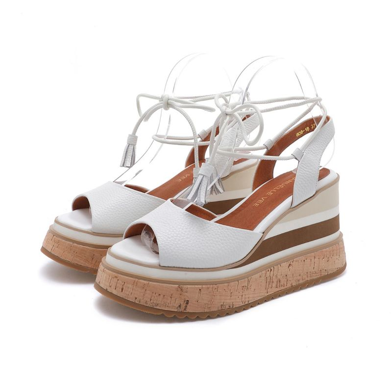 SANDAL WITH ANKLE LACE ON HIGH WEDGE TUMBLED MICRO LEATHER WHITE