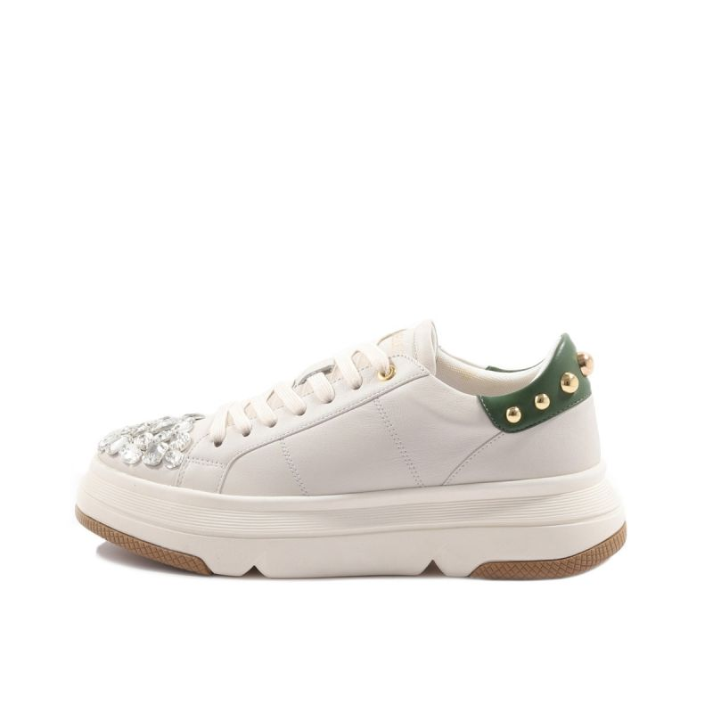 SNEAKER WITH STRASS IN THE TOE LEATHER + PU Avorio