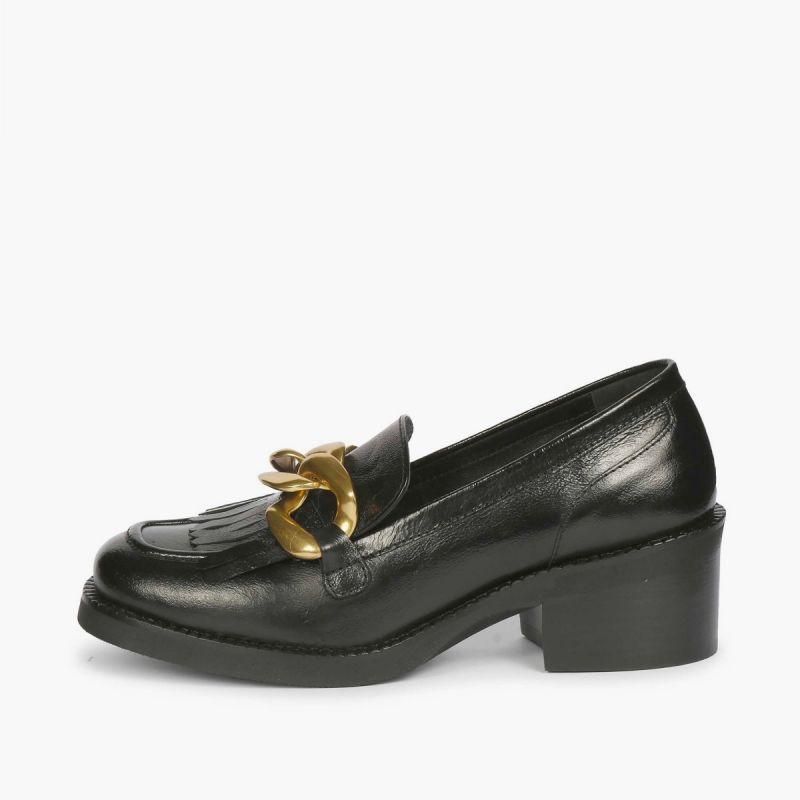 Mocassin fringes & chain built-in heel 50 asport Black
