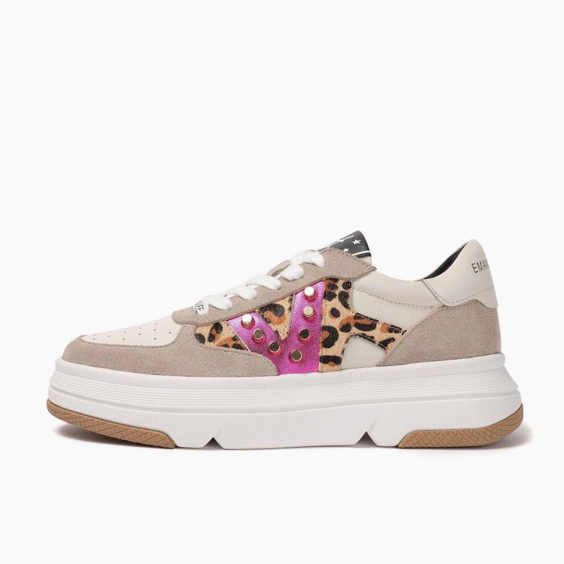 Sneaker with lace high bottom crust+leath+horse Multi beige