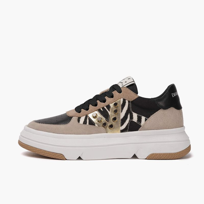 Sneaker with lace high bottom crust+leath+horse Multi black