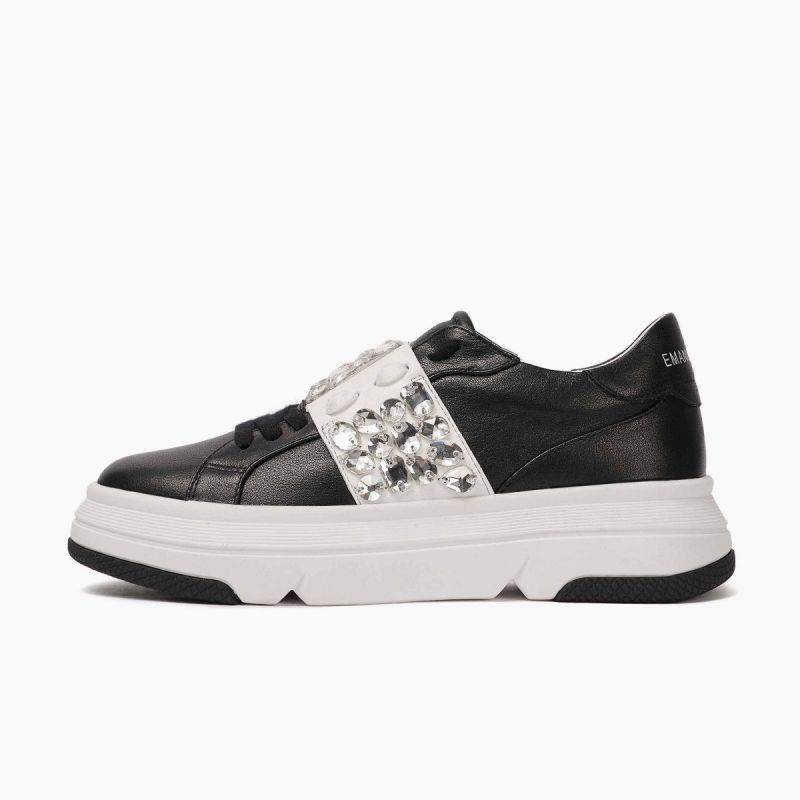 Sneaker with laces lateral strass leath+pu Black/white