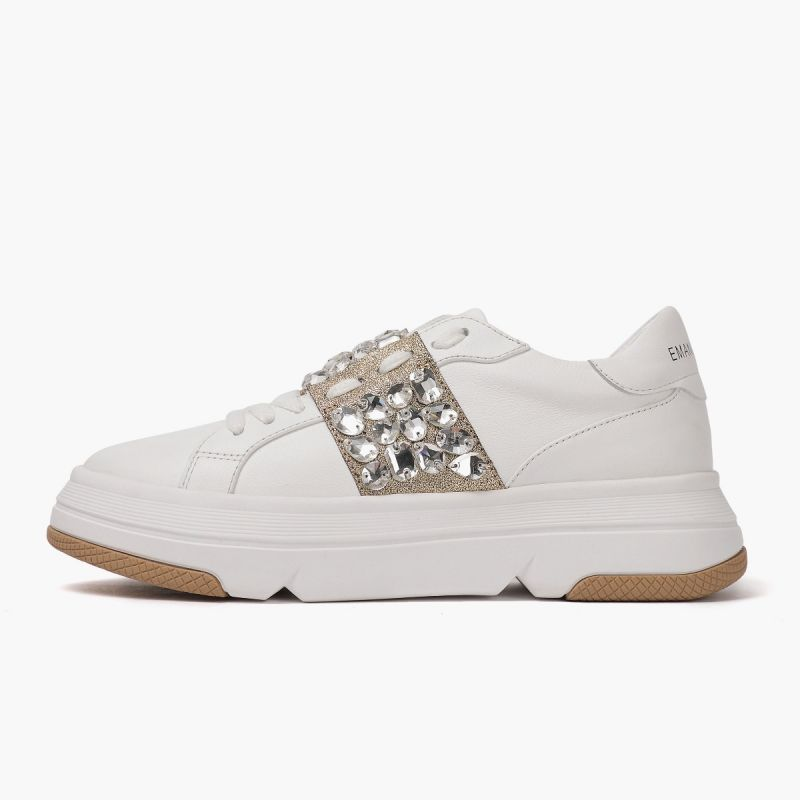Sneaker with laces lateral strass leath+pu White/dk gold