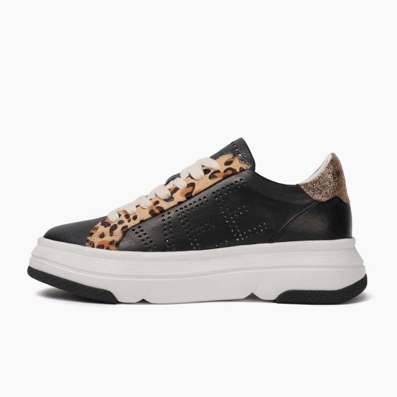 """Sneaker with laces lateral """"vee"""" logo cow split+leath+horse Multi black"""