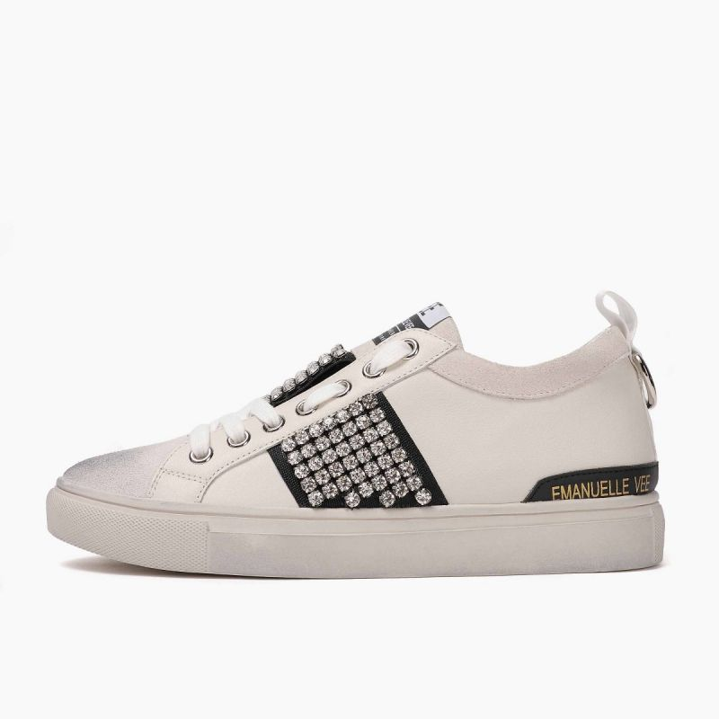 Sneaker with laces lateral strass cow split+leath Multi white