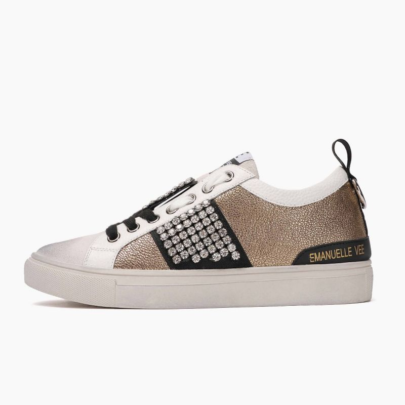 Sneaker with laces lat. combi cow split Multi gold