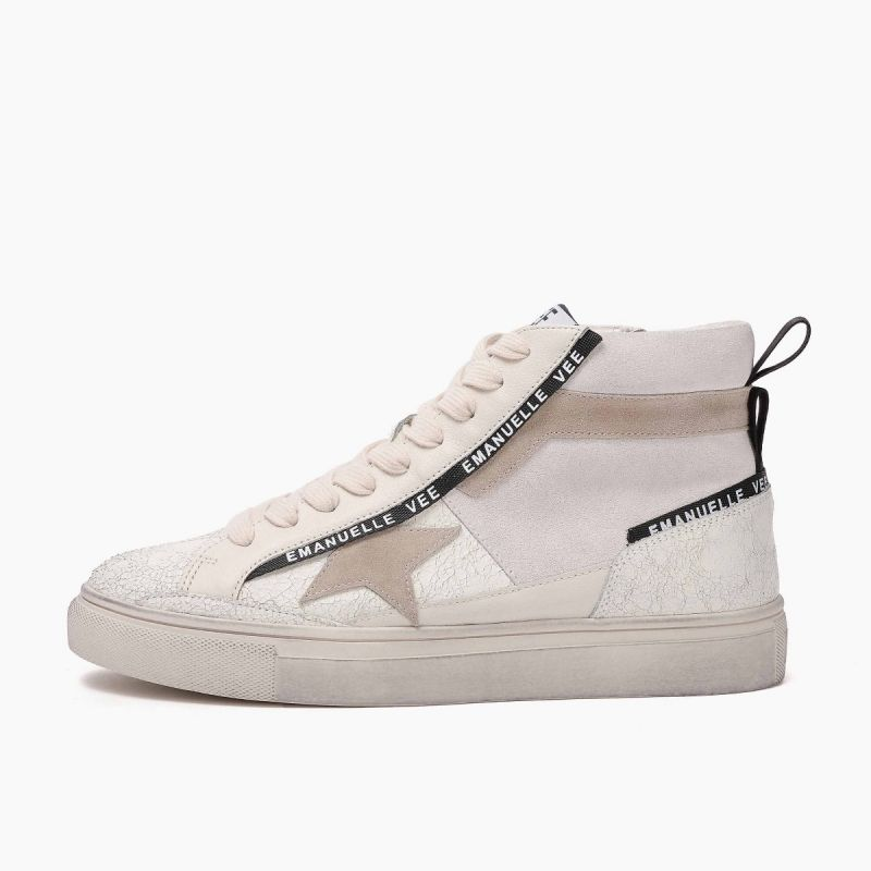 Sneaker medium with laces lat.star leath+cow split Multi white