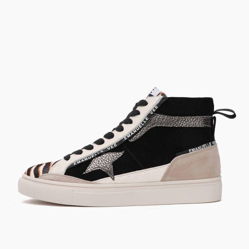 Sneaker medium with laces lat.star horse+ cow split+leath Multi animalier