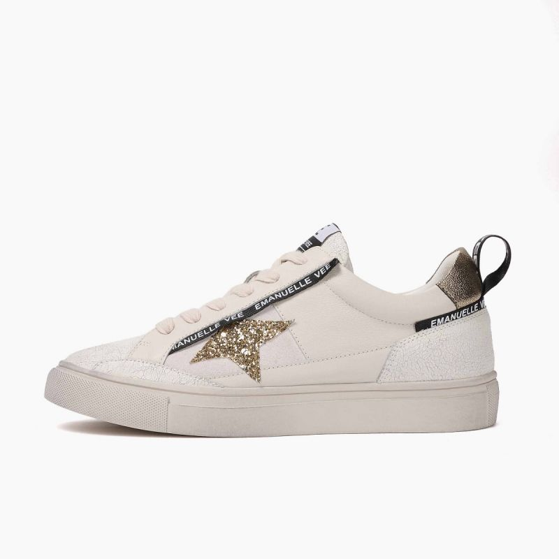Sneaker with laces lat. star leath+cow split+lam White/gold
