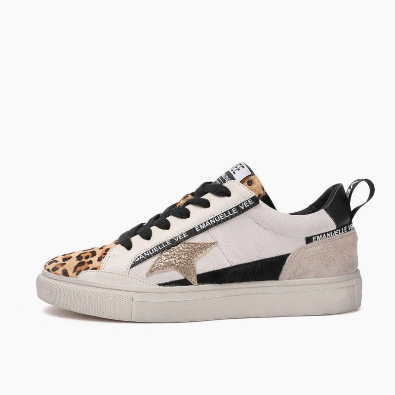 Sneaker with laces lat. star horse+cow split+leather Multi animalier