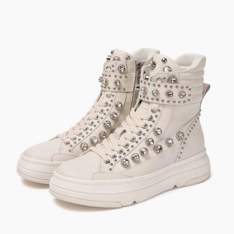 Anfibio fondo sneaker strass pelle Avorio