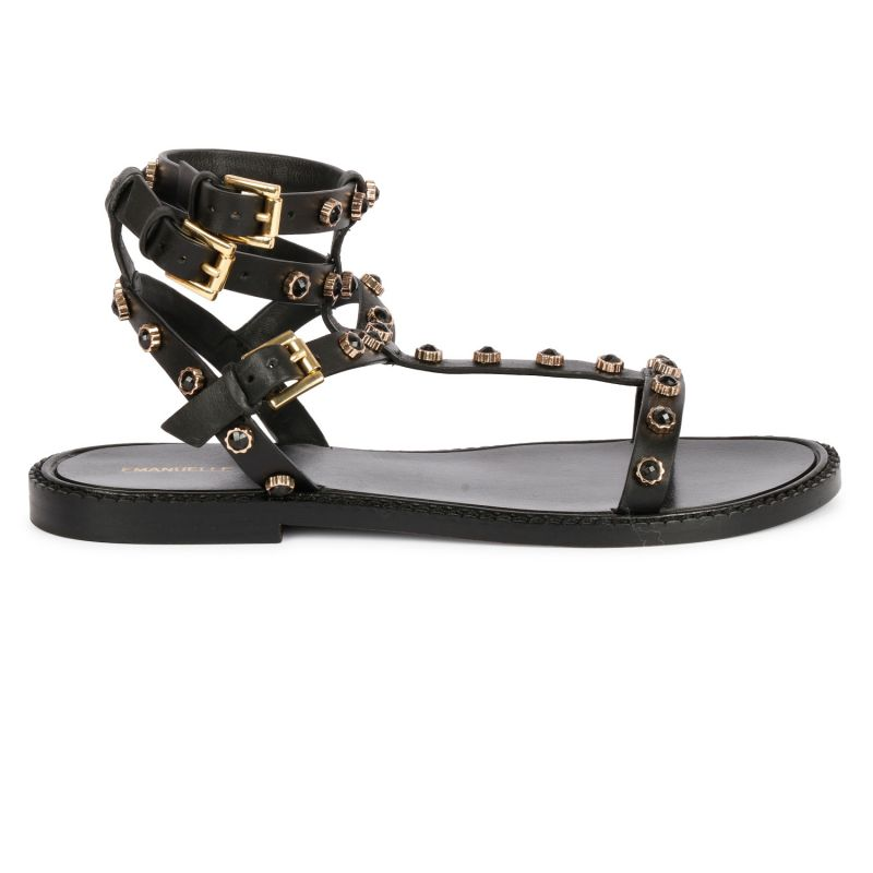 Sandalo alla schiava borchie e strass calf Nero