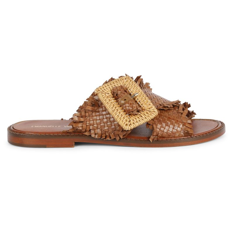 Sandalo positano incrociato fibbia vimini dama Cuoio