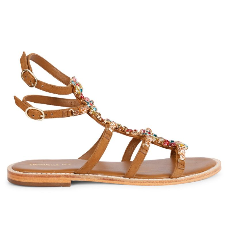 LACE-UP SANDAL WITH JEWEL KID SUEDE Cuoio